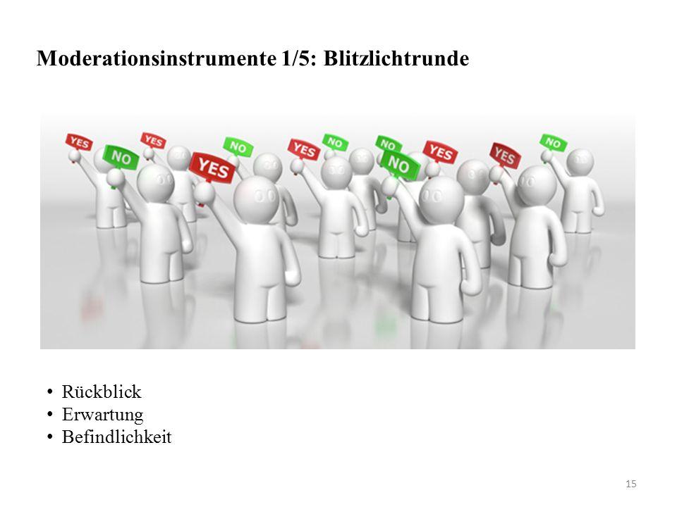 Moderationsinstrumente 1/5: Blitzlichtrunde Rückblick Erwartung Befindlichkeit 15