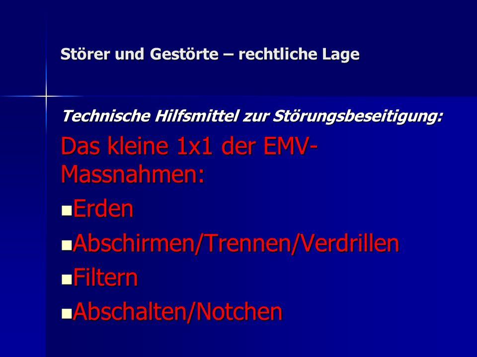 Störer und Gestörte – rechtliche Lage Technische Hilfsmittel zur Störungsbeseitigung: Das kleine 1x1 der EMV- Massnahmen: Erden Erden Abschirmen/Trenn
