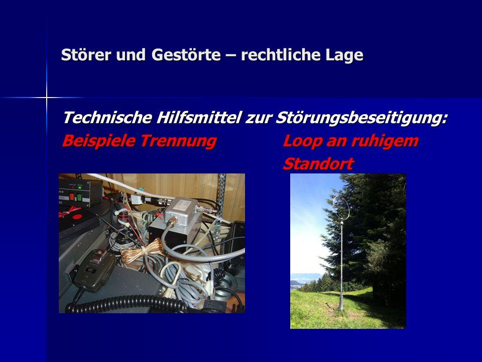 Störer und Gestörte – rechtliche Lage Technische Hilfsmittel zur Störungsbeseitigung: Beispiele Trennung Loop an ruhigem Standort Standort