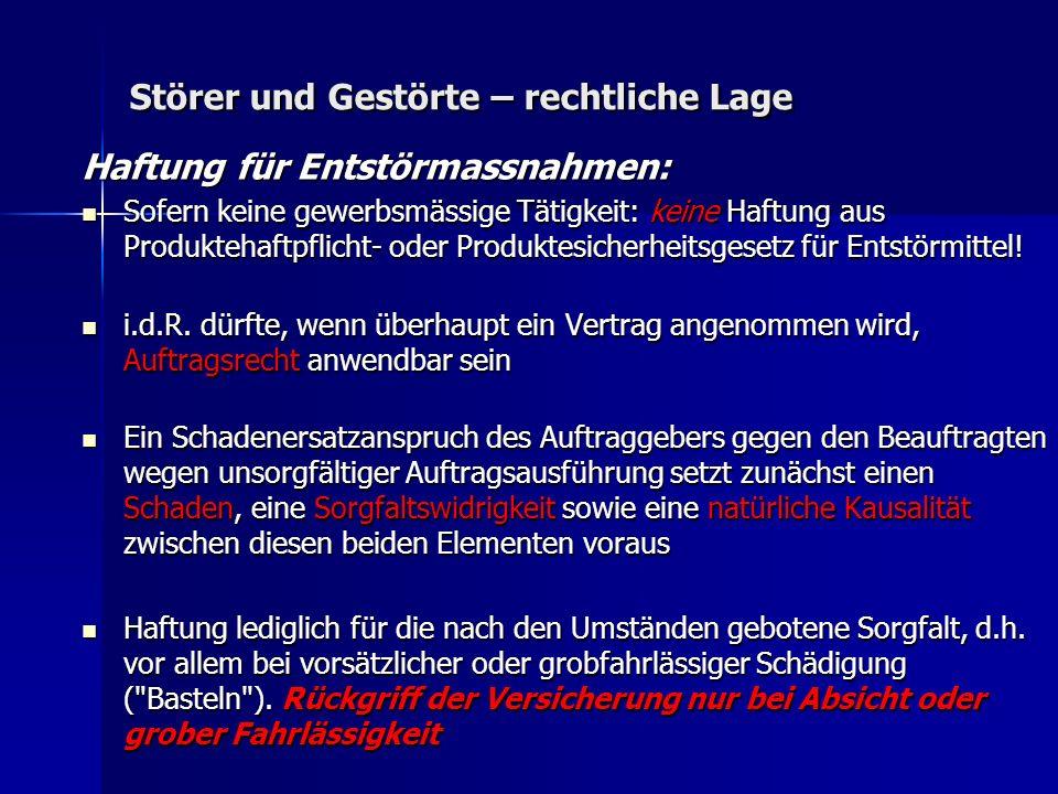 Störer und Gestörte – rechtliche Lage Haftung für Entstörmassnahmen: Sofern keine gewerbsmässige Tätigkeit: keine Haftung aus Produktehaftpflicht- oder Produktesicherheitsgesetz für Entstörmittel.