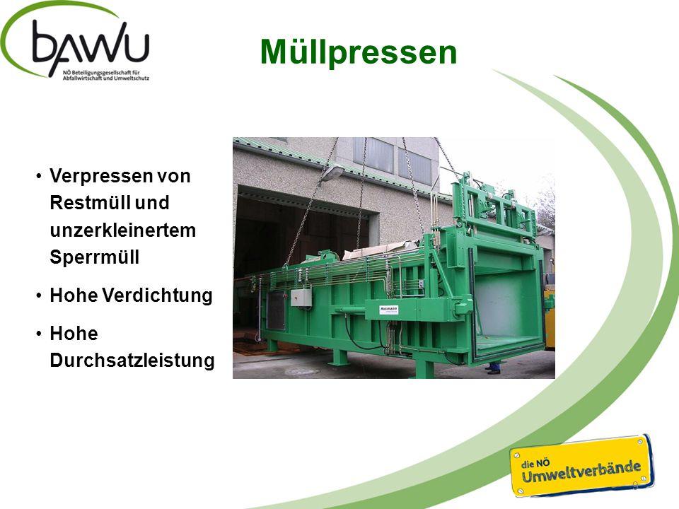 Müllpressen 9 Verpressen von Restmüll und unzerkleinertem Sperrmüll Hohe Verdichtung Hohe Durchsatzleistung