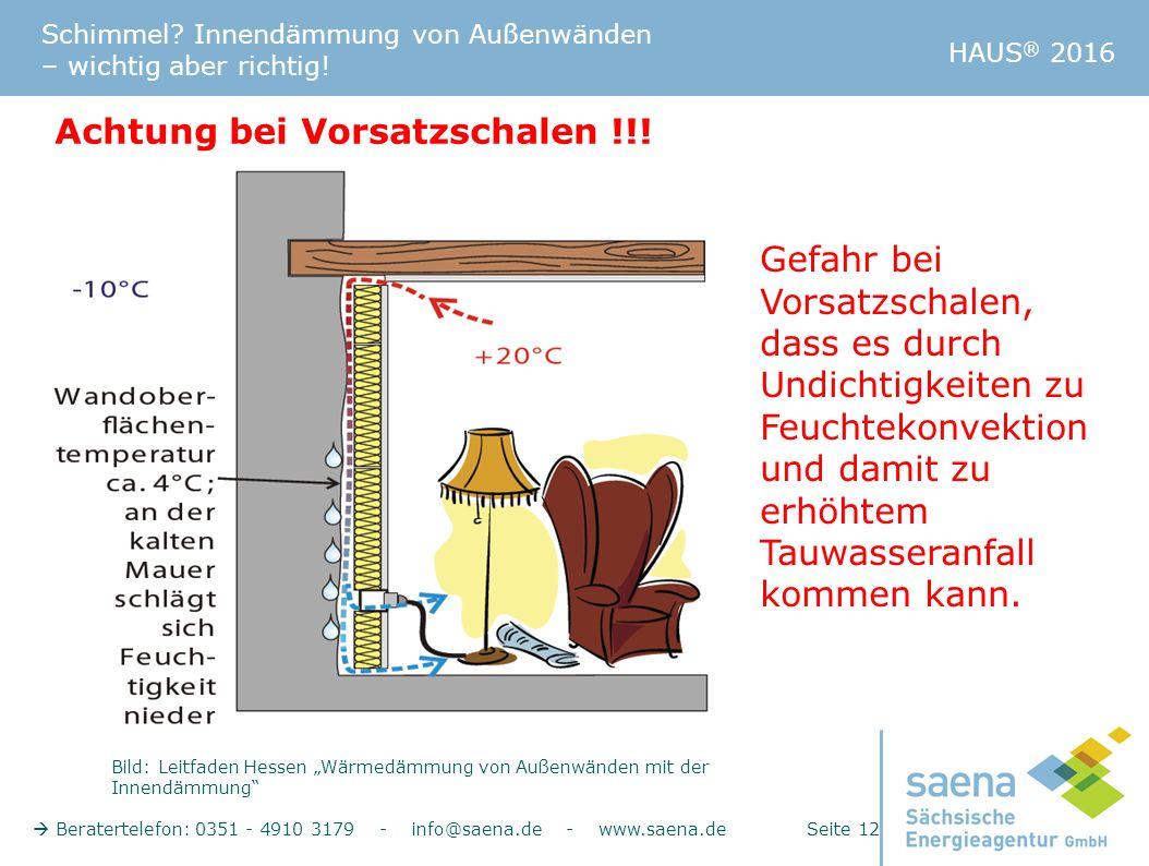 Schimmel? Innendämmung von Außenwänden – wichtig aber richtig!  Beratertelefon: 0351 - 4910 3179 - info@saena.de - www.saena.de Seite 12 HAUS ® 2016