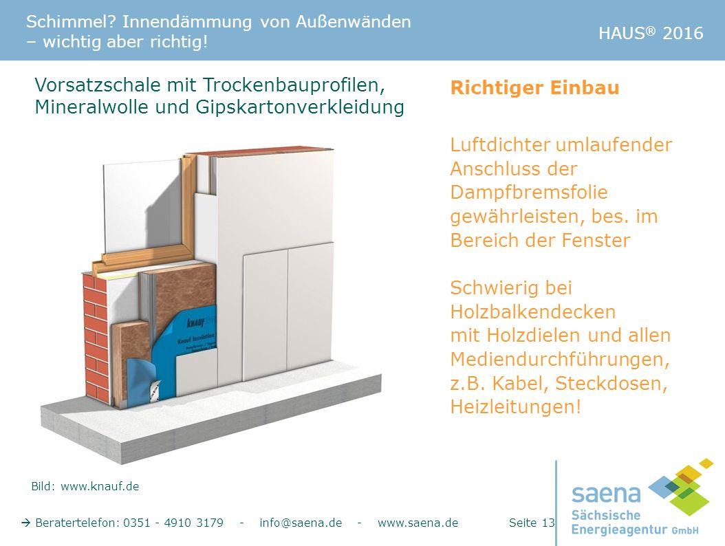 Schimmel? Innendämmung von Außenwänden – wichtig aber richtig!  Beratertelefon: 0351 - 4910 3179 - info@saena.de - www.saena.de Seite 13 HAUS ® 2016