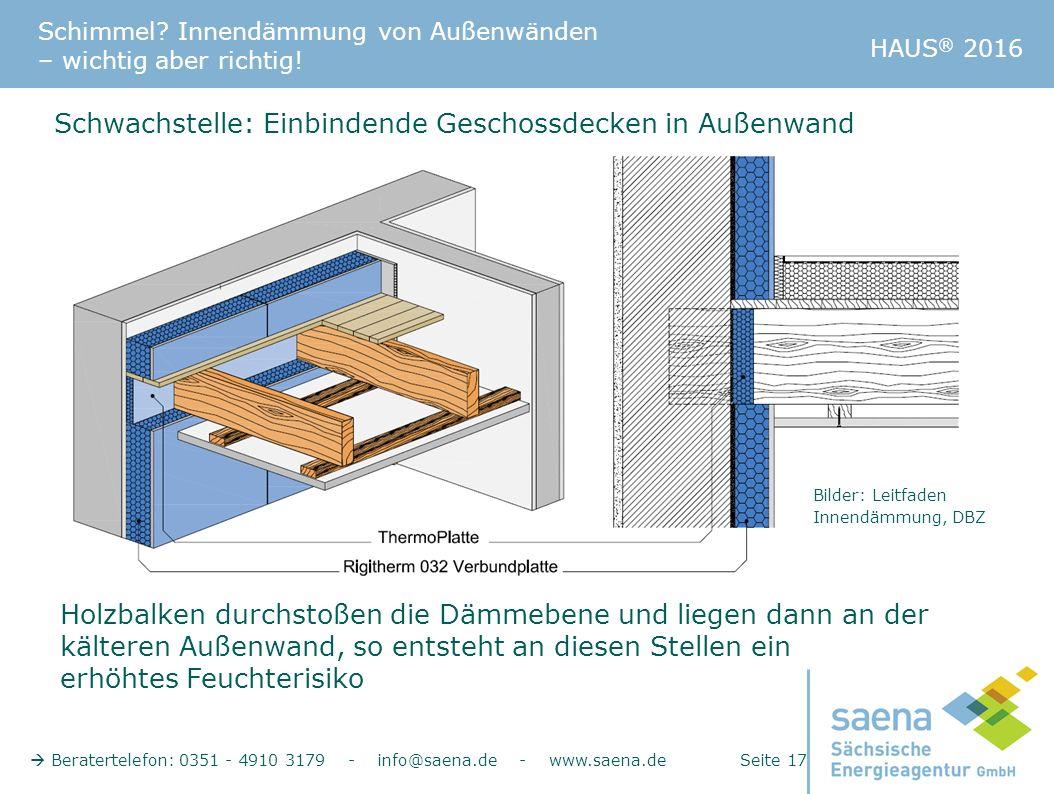 Schimmel? Innendämmung von Außenwänden – wichtig aber richtig!  Beratertelefon: 0351 - 4910 3179 - info@saena.de - www.saena.de Seite 17 HAUS ® 2016