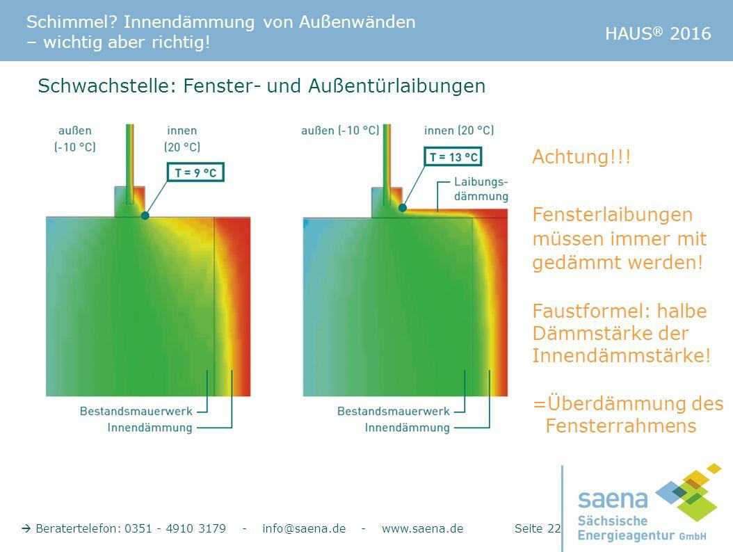 Schimmel? Innendämmung von Außenwänden – wichtig aber richtig!  Beratertelefon: 0351 - 4910 3179 - info@saena.de - www.saena.de Seite 22 HAUS ® 2016