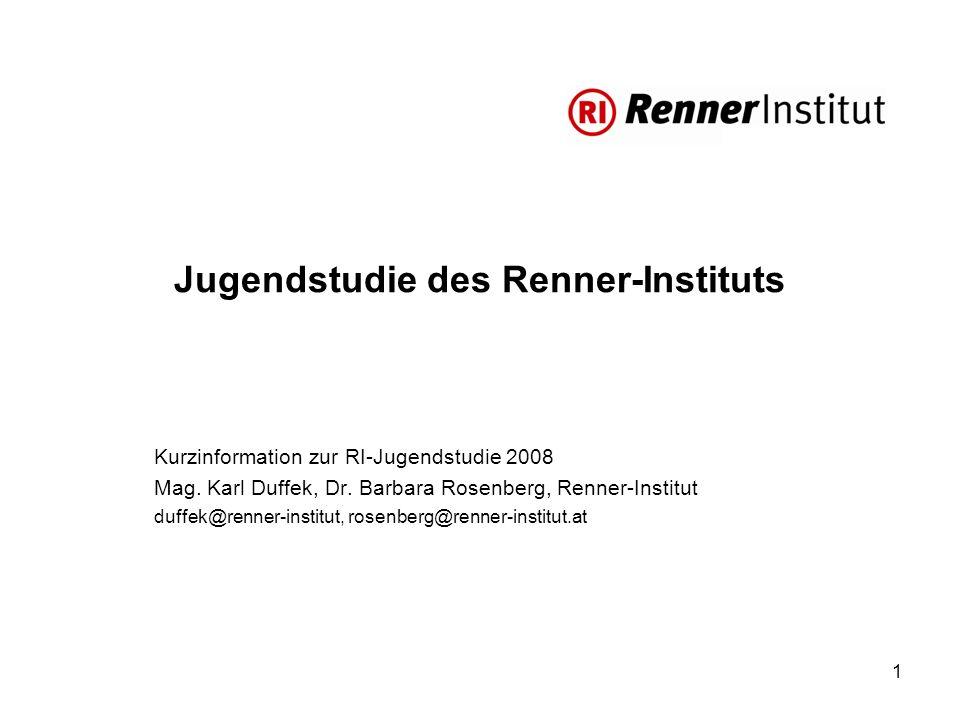 1 Jugendstudie des Renner-Instituts Kurzinformation zur RI-Jugendstudie 2008 Mag.