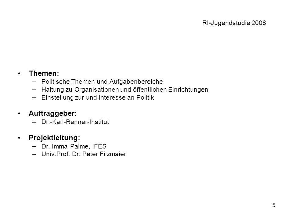 5 RI-Jugendstudie 2008 Themen: –Politische Themen und Aufgabenbereiche –Haltung zu Organisationen und öffentlichen Einrichtungen –Einstellung zur und Interesse an Politik Auftraggeber: –Dr.-Karl-Renner-Institut Projektleitung: –Dr.