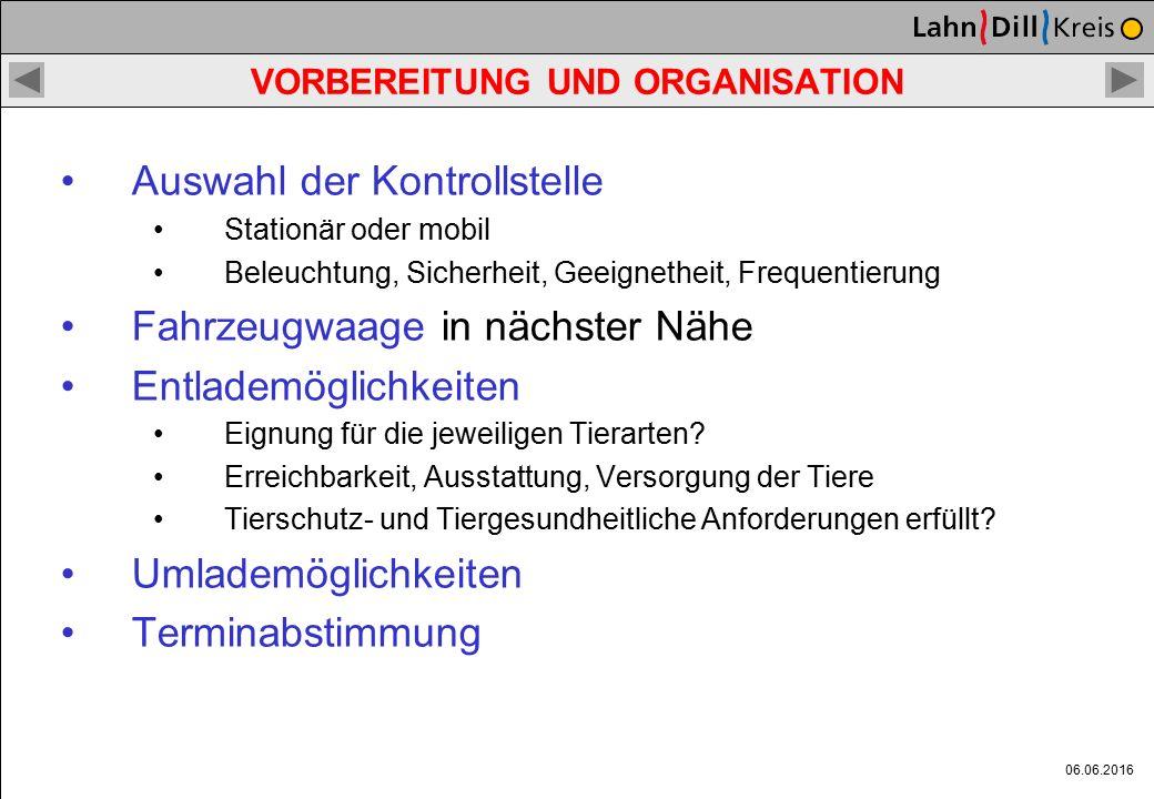 06.06.2016 VORBEREITUNG UND ORGANISATION Ausrüstung: Formulare (Polizei und Veterinäre) Checkliste Tiertransportkontrolle (Handbuch TT) Rechtsvorschri
