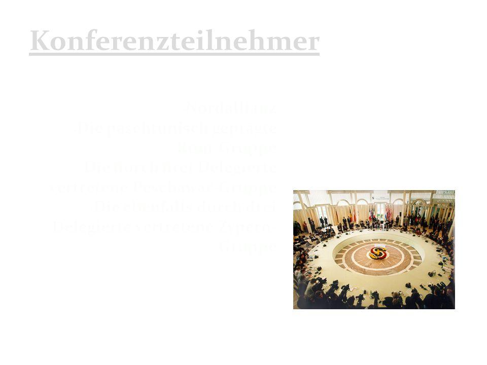 Konferenzteilnehmer Nordallianz Die paschtunisch geprägte Rom-Gruppe Die durch drei Delegierte vertretene Peschawar-Gruppe Die ebenfalls durch drei Delegierte vertretene Zypern- Gruppe