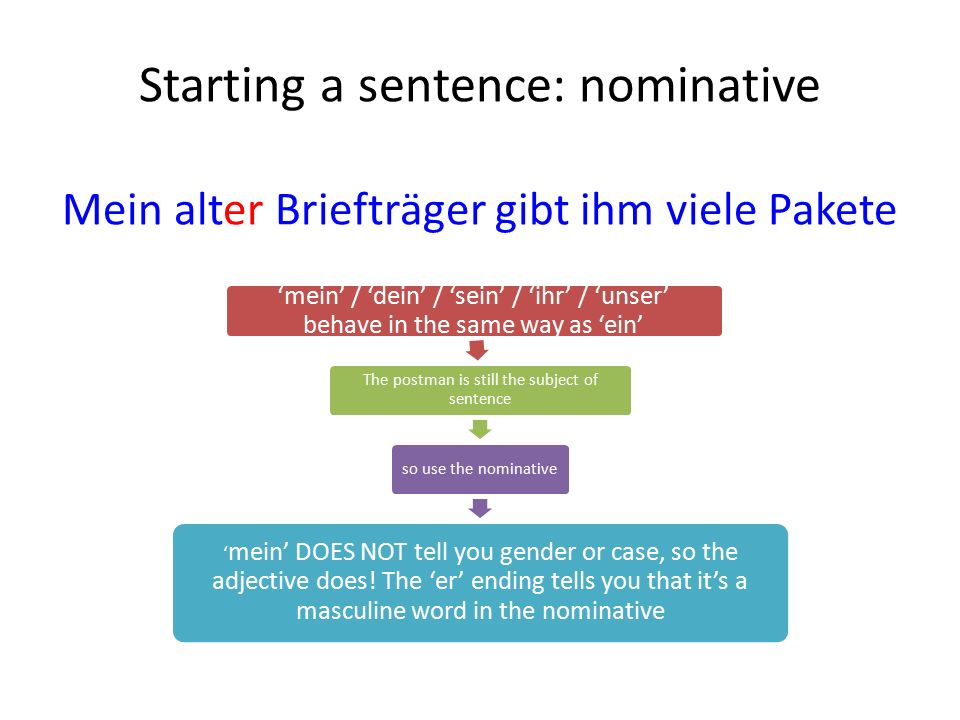 Starting a sentence: nominative Mein alter Briefträger gibt ihm viele Pakete 'mein' / 'dein' / 'sein' / 'ihr' / 'unser' behave in the same way as 'ein' The postman is still the subject of sentence so use the nominative ' mein' DOES NOT tell you gender or case, so the adjective does.