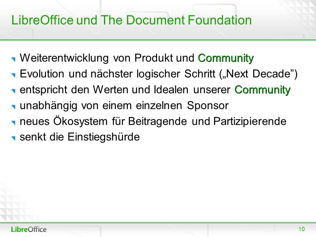 """10 LibreOffice und The Document Foundation Community Weiterentwicklung von Produkt und Community Evolution und nächster logischer Schritt (""""Next Decad"""