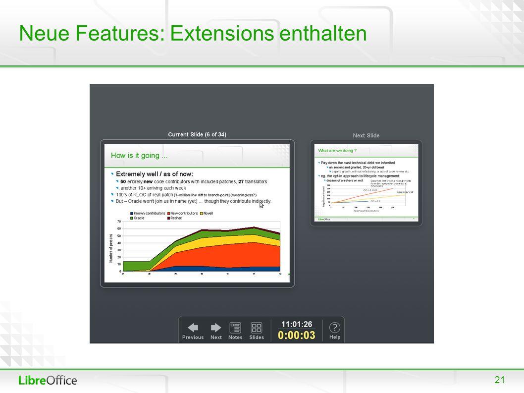21 Neue Features: Extensions enthalten