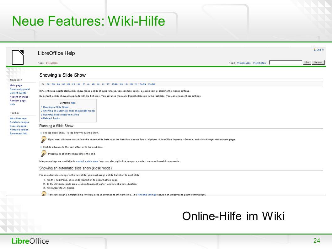 24 Neue Features: Wiki-Hilfe Online-Hilfe im Wiki
