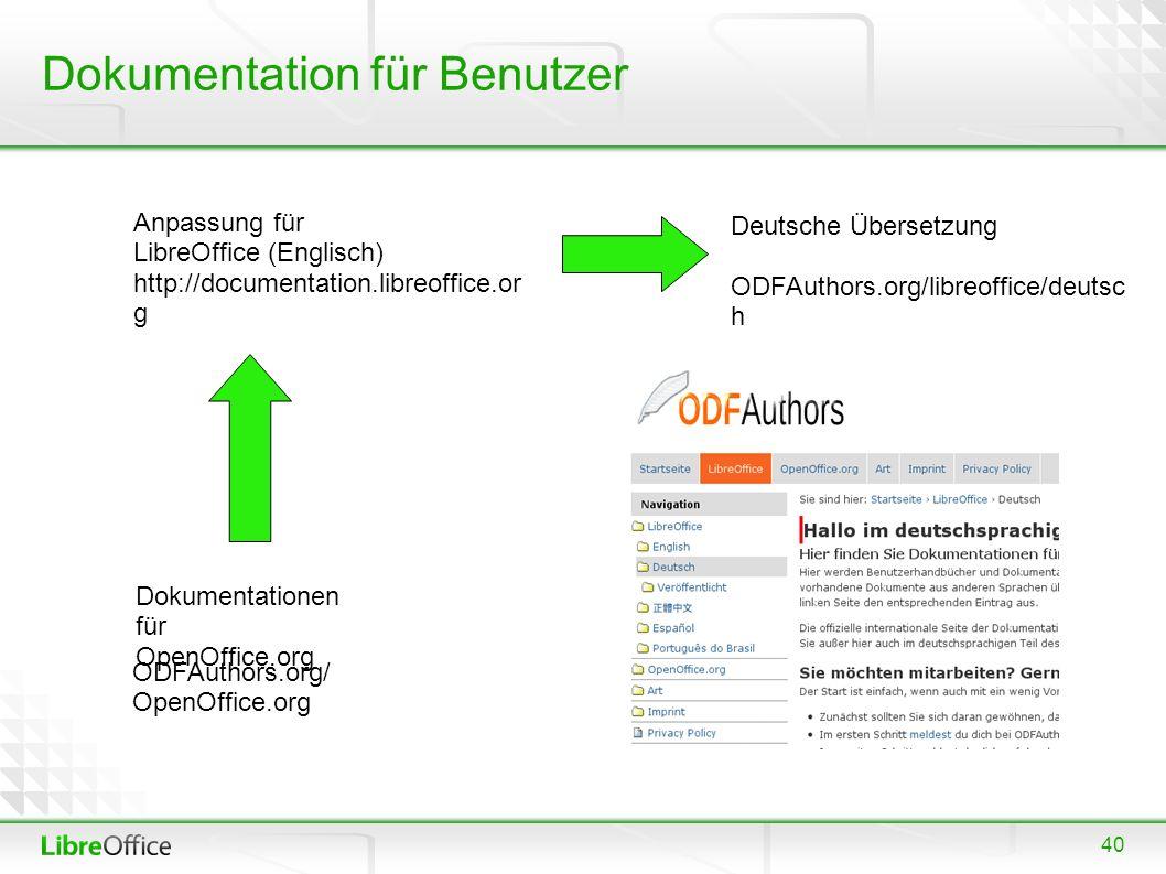 40 Dokumentation für Benutzer ODFAuthors.org/ OpenOffice.org Dokumentationen für OpenOffice.org Anpassung für LibreOffice (Englisch) http://documentation.libreoffice.or g Deutsche Übersetzung ODFAuthors.org/libreoffice/deutsc h