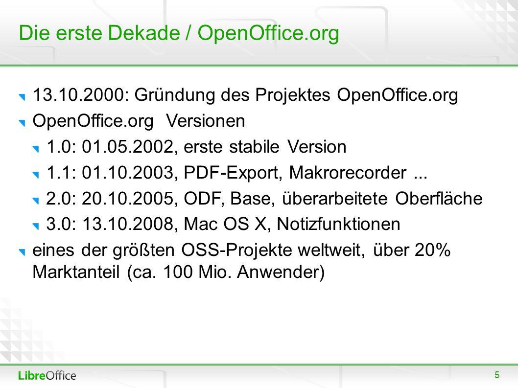 5 Die erste Dekade / OpenOffice.org 13.10.2000: Gründung des Projektes OpenOffice.org OpenOffice.org Versionen 1.0: 01.05.2002, erste stabile Version 1.1: 01.10.2003, PDF-Export, Makrorecorder...