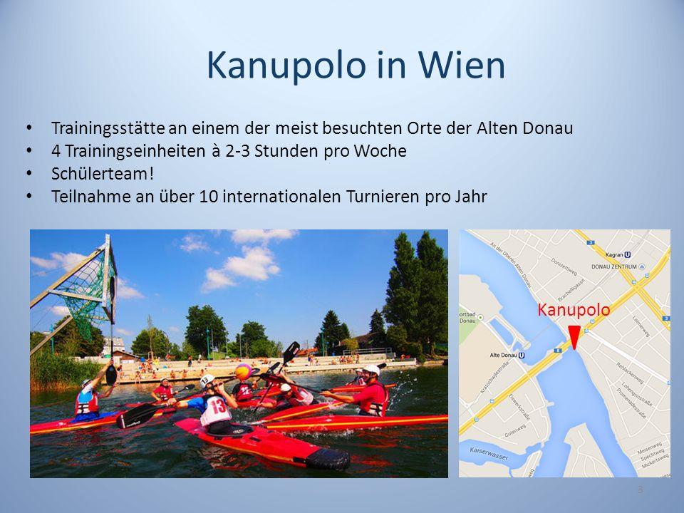 3 Kanupolo Kanupolo in Wien Trainingsstätte an einem der meist besuchten Orte der Alten Donau 4 Trainingseinheiten à 2-3 Stunden pro Woche Schülerteam
