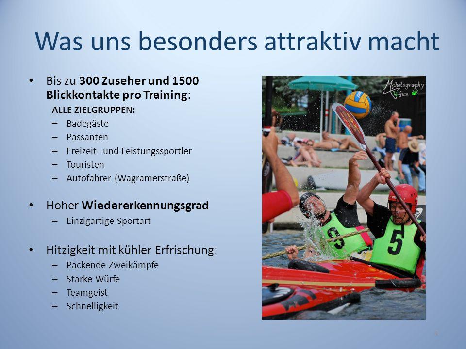 Was uns besonders attraktiv macht Bis zu 300 Zuseher und 1500 Blickkontakte pro Training: ALLE ZIELGRUPPEN: – Badegäste – Passanten – Freizeit- und Le
