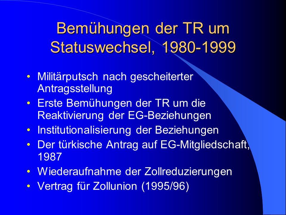 Bemühungen der TR um Statuswechsel, 1980-1999 Militärputsch nach gescheiterter Antragsstellung Erste Bemühungen der TR um die Reaktivierung der EG-Beziehungen Institutionalisierung der Beziehungen Der türkische Antrag auf EG-Mitgliedschaft, 1987 Wiederaufnahme der Zollreduzierungen Vertrag für Zollunion (1995/96)