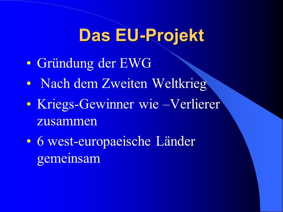 Das EU-Projekt Gründung der EWG Nach dem Zweiten Weltkrieg Kriegs-Gewinner wie –Verlierer zusammen 6 west-europaeische Länder gemeinsam