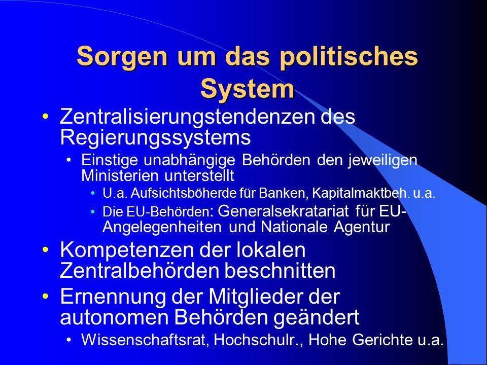 Sorgen um das politisches System Zentralisierungstendenzen des Regierungssystems Einstige unabhängige Behörden den jeweiligen Ministerien unterstellt U.a.