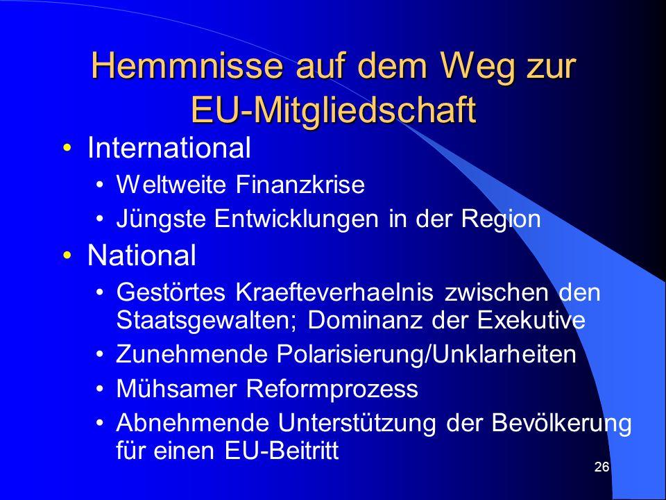 26 Hemmnisse auf dem Weg zur EU-Mitgliedschaft International Weltweite Finanzkrise Jüngste Entwicklungen in der Region National Gestörtes Kraefteverhaelnis zwischen den Staatsgewalten; Dominanz der Exekutive Zunehmende Polarisierung/Unklarheiten Mühsamer Reformprozess Abnehmende Unterstützung der Bevölkerung für einen EU-Beitritt
