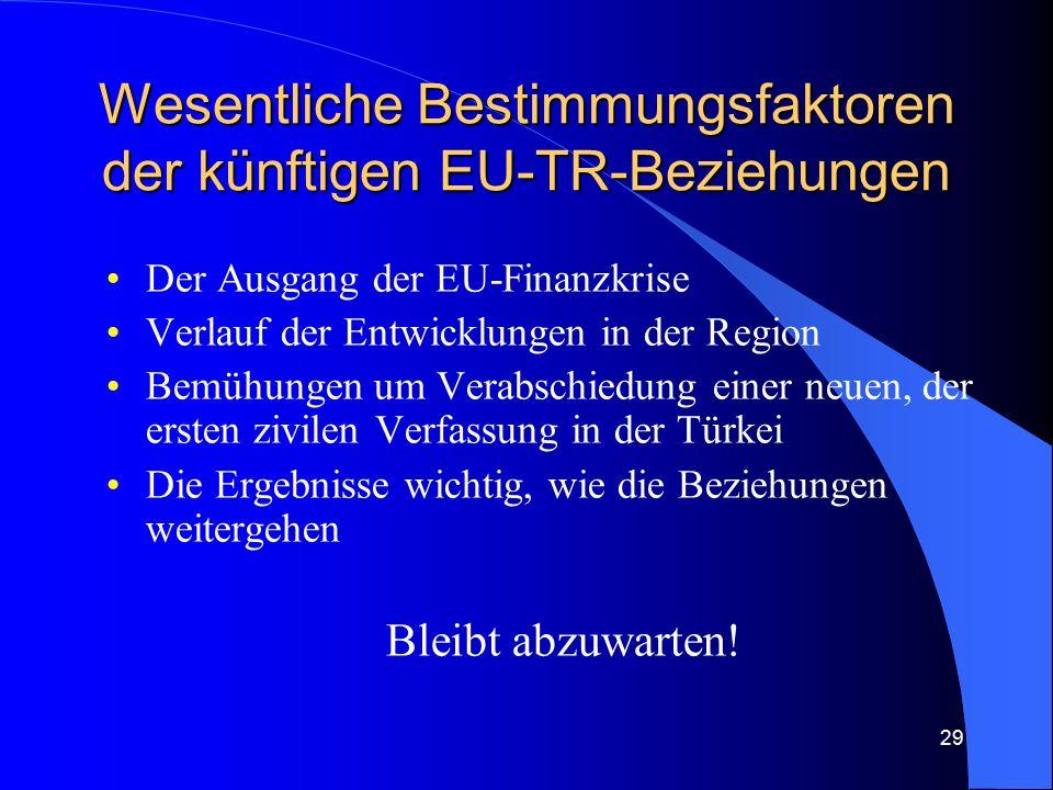 29 Wesentliche Bestimmungsfaktoren der künftigen EU-TR-Beziehungen Der Ausgang der EU-Finanzkrise Verlauf der Entwicklungen in der Region Bemühungen um Verabschiedung einer neuen, der ersten zivilen Verfassung in der Türkei Die Ergebnisse wichtig, wie die Beziehungen weitergehen Bleibt abzuwarten!