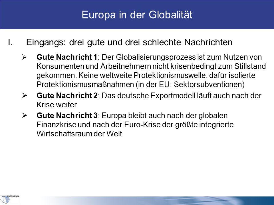 Europa in der Globalität  Schlechte Nachricht 1: Das deutsche Modell stößt außerhalb Deutschlands in Europa immer mehr auf Kritik, weil es von nur wenigen Regionen (Deutschland, NL) ausgeht und weil Importe grundsätzlich als Belastung nicht aber als Gewinn verstanden werden.