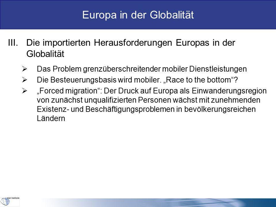 Europa in der Globalität  Welche Einkünfte wird Europas Kapital künftig aus Anlagen im Ausland ziehen.