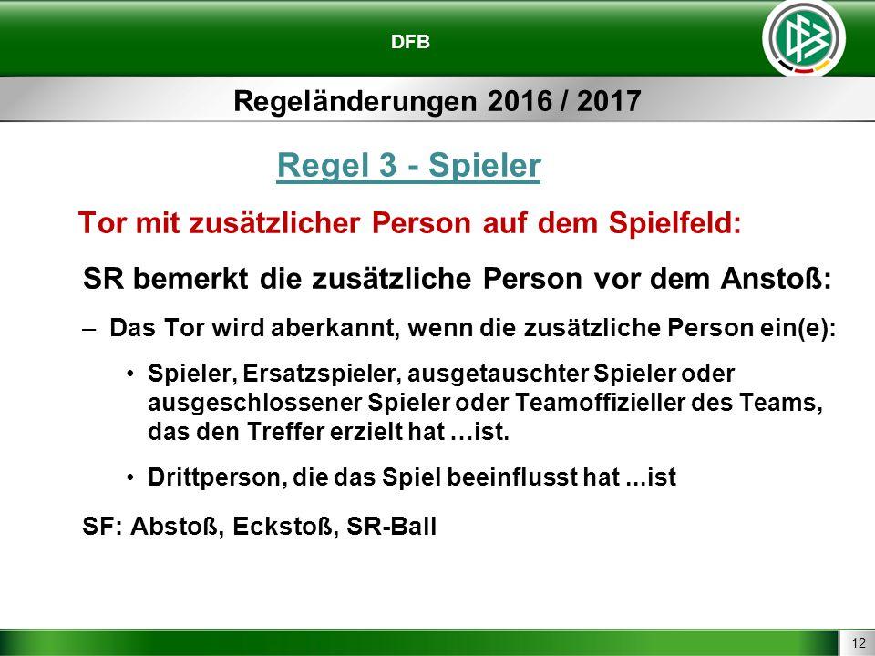 12 DFB Regeländerungen 2016 / 2017 Regel 3 - Spieler Tor mit zusätzlicher Person auf dem Spielfeld: SR bemerkt die zusätzliche Person vor dem Anstoß: