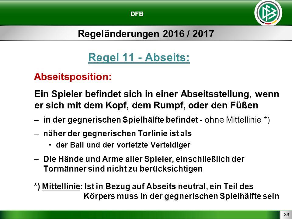 36 DFB Regeländerungen 2016 / 2017 Regel 11 - Abseits: Abseitsposition: Ein Spieler befindet sich in einer Abseitsstellung, wenn er sich mit dem Kopf,