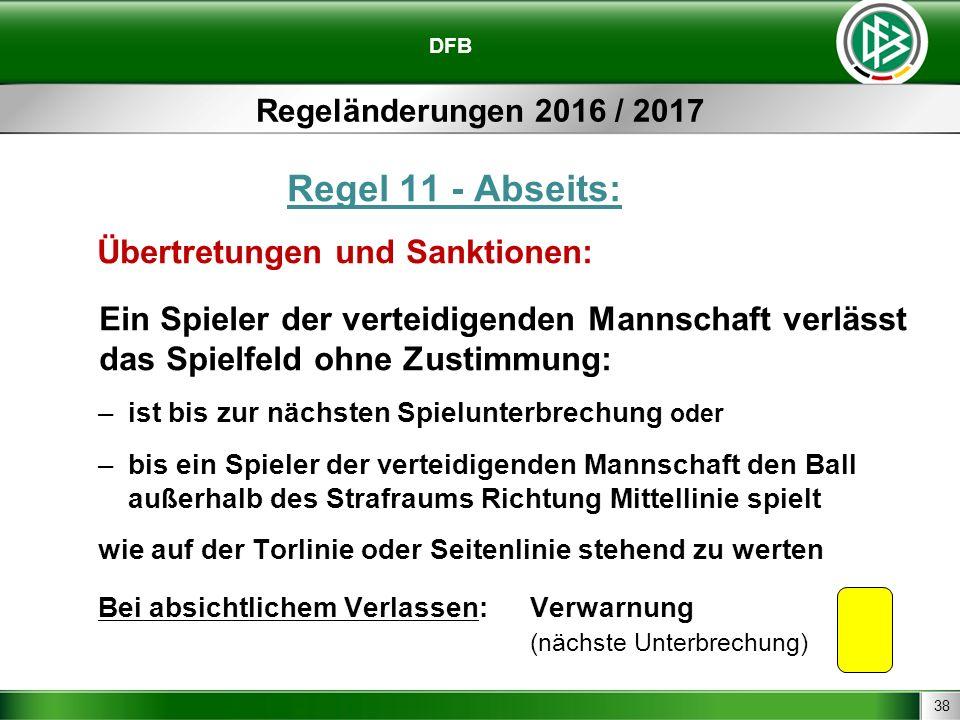 38 DFB Regeländerungen 2016 / 2017 Regel 11 - Abseits: Übertretungen und Sanktionen: Ein Spieler der verteidigenden Mannschaft verlässt das Spielfeld