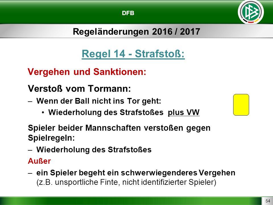 54 DFB Regeländerungen 2016 / 2017 Regel 14 - Strafstoß: Vergehen und Sanktionen: Verstoß vom Tormann: –Wenn der Ball nicht ins Tor geht: Wiederholung