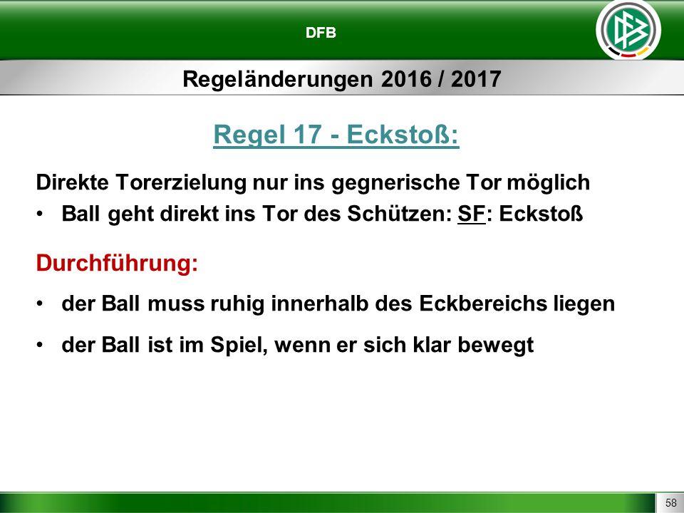 58 DFB Regeländerungen 2016 / 2017 Regel 17 - Eckstoß: Direkte Torerzielung nur ins gegnerische Tor möglich Ball geht direkt ins Tor des Schützen: SF: Eckstoß Durchführung: der Ball muss ruhig innerhalb des Eckbereichs liegen der Ball ist im Spiel, wenn er sich klar bewegt