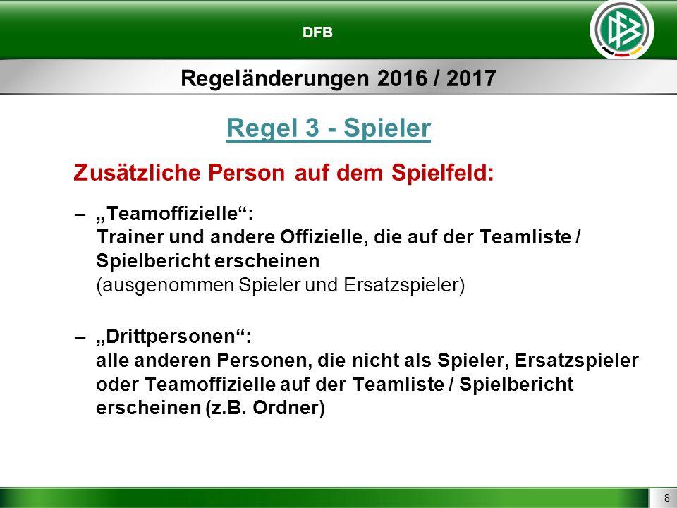 """8 DFB Regeländerungen 2016 / 2017 Regel 3 - Spieler Zusätzliche Person auf dem Spielfeld: –"""" Teamoffizielle"""": Trainer und andere Offizielle, die auf d"""