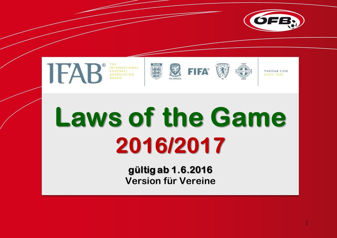 Laws of the Game 2016/2017 gültig ab 1.6.2016 Version für Vereine Laws of the Game 2016/2017 gültig ab 1.6.2016 Version für Vereine 1