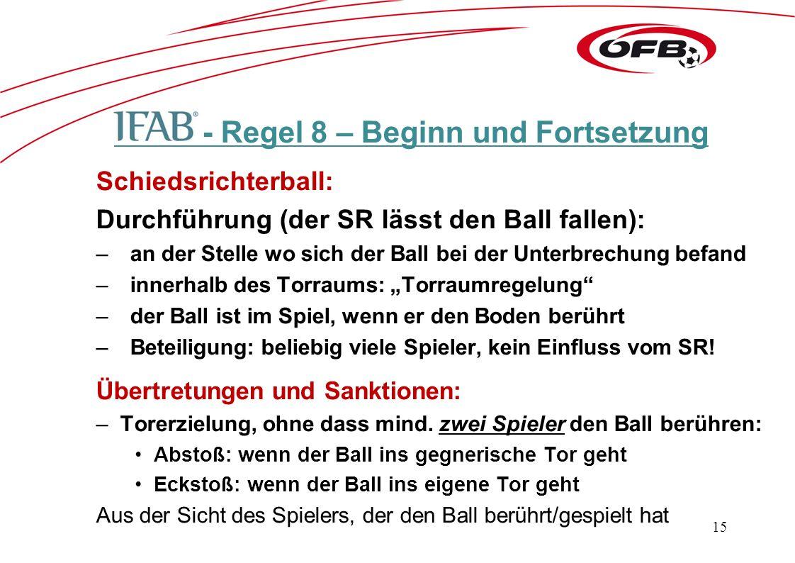 """- Regel 8 – Beginn und Fortsetzung Schiedsrichterball: Durchführung (der SR lässt den Ball fallen): –an der Stelle wo sich der Ball bei der Unterbrechung befand –innerhalb des Torraums: """"Torraumregelung –der Ball ist im Spiel, wenn er den Boden berührt –Beteiligung: beliebig viele Spieler, kein Einfluss vom SR."""