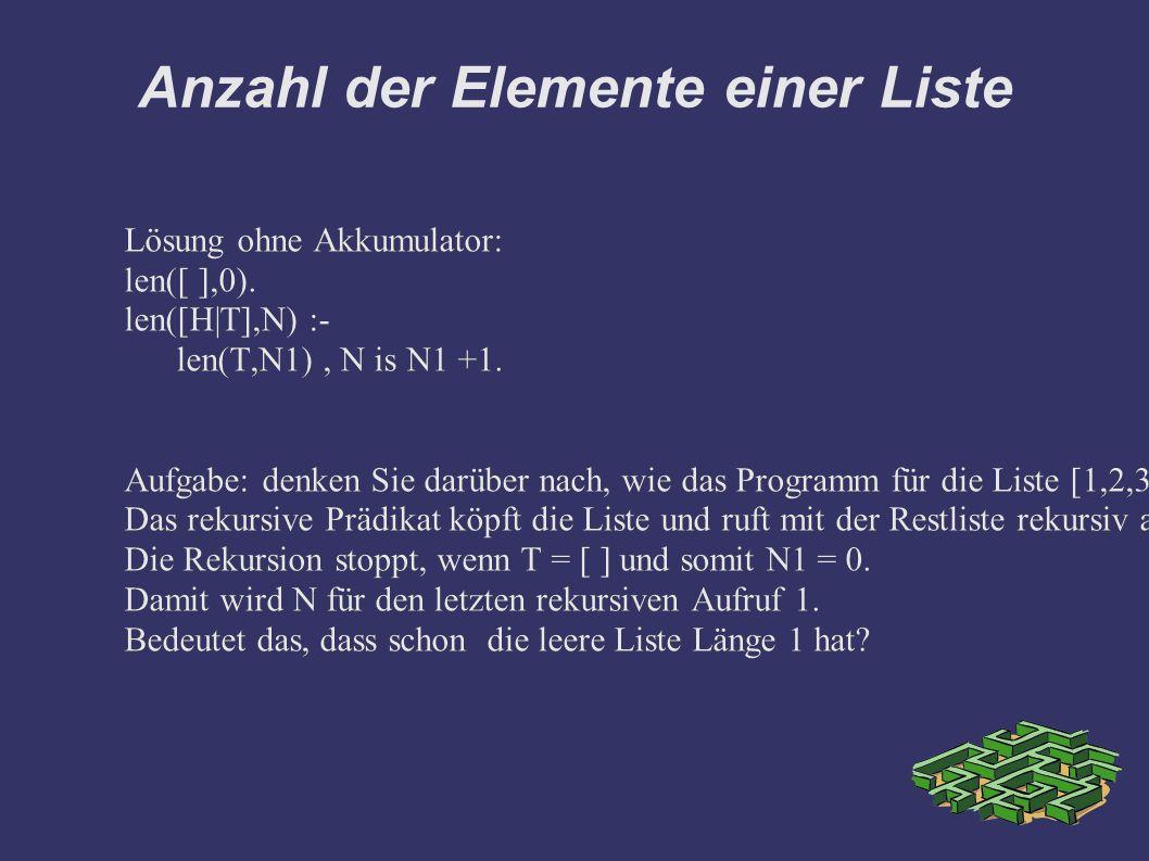 Anzahl der Elemente einer Liste Lösung ohne Akkumulator: len([ ],0). len([H|T],N) :- len(T,N1), N is N1 +1. Aufgabe: denken Sie darüber nach, wie das