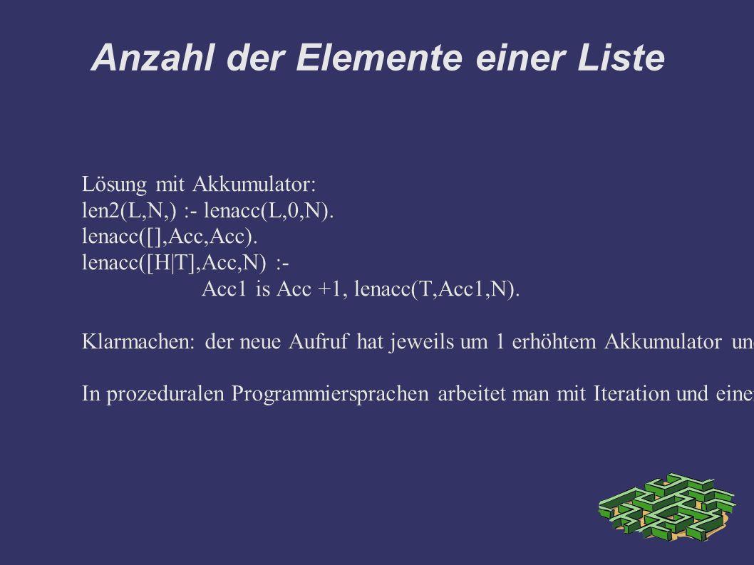 Anzahl der Elemente einer Liste Lösung mit Akkumulator: len2(L,N,) :- lenacc(L,0,N). lenacc([],Acc,Acc). lenacc([H|T],Acc,N) :- Acc1 is Acc +1, lenacc