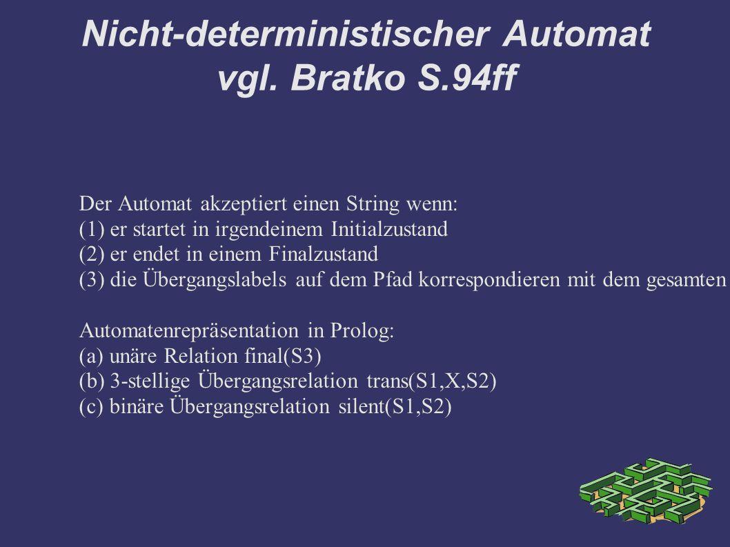 Nicht-deterministischer Automat vgl. Bratko S.94ff Der Automat akzeptiert einen String wenn: (1) er startet in irgendeinem Initialzustand (2) er endet