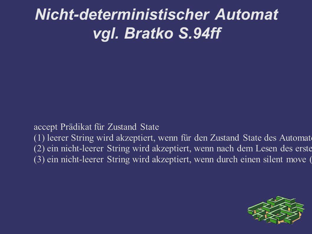 Nicht-deterministischer Automat vgl. Bratko S.94ff accept Prädikat für Zustand State (1) leerer String wird akzeptiert, wenn für den Zustand State des