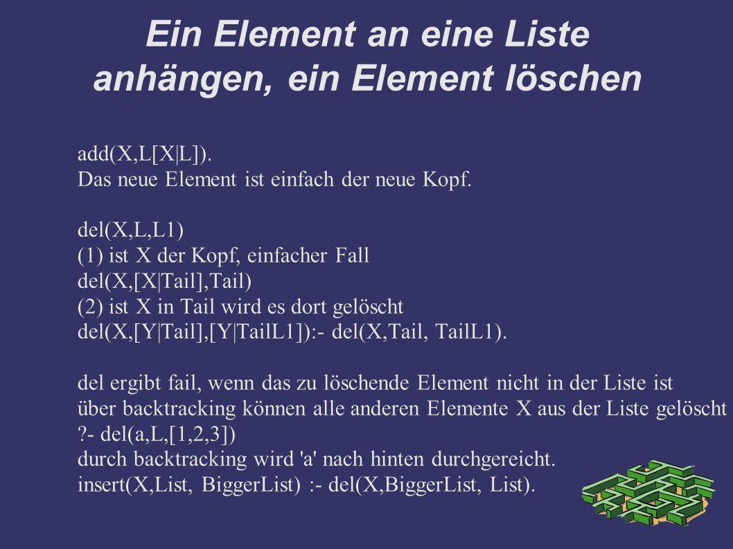 Ein Element an eine Liste anhängen, ein Element löschen add(X,L[X|L]). Das neue Element ist einfach der neue Kopf. del(X,L,L1) (1) ist X der Kopf, ein