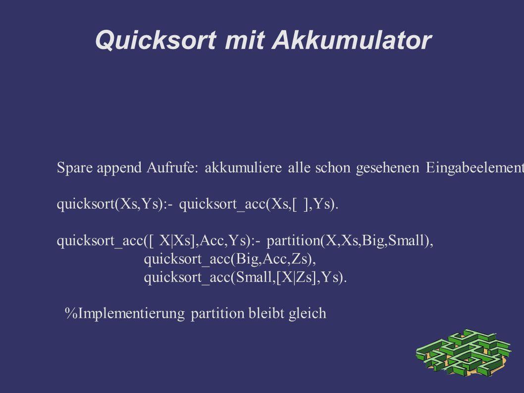 Quicksort mit Akkumulator Spare append Aufrufe: akkumuliere alle schon gesehenen Eingabeelemente auf dem Akkumulator quicksort(Xs,Ys):- quicksort_acc(