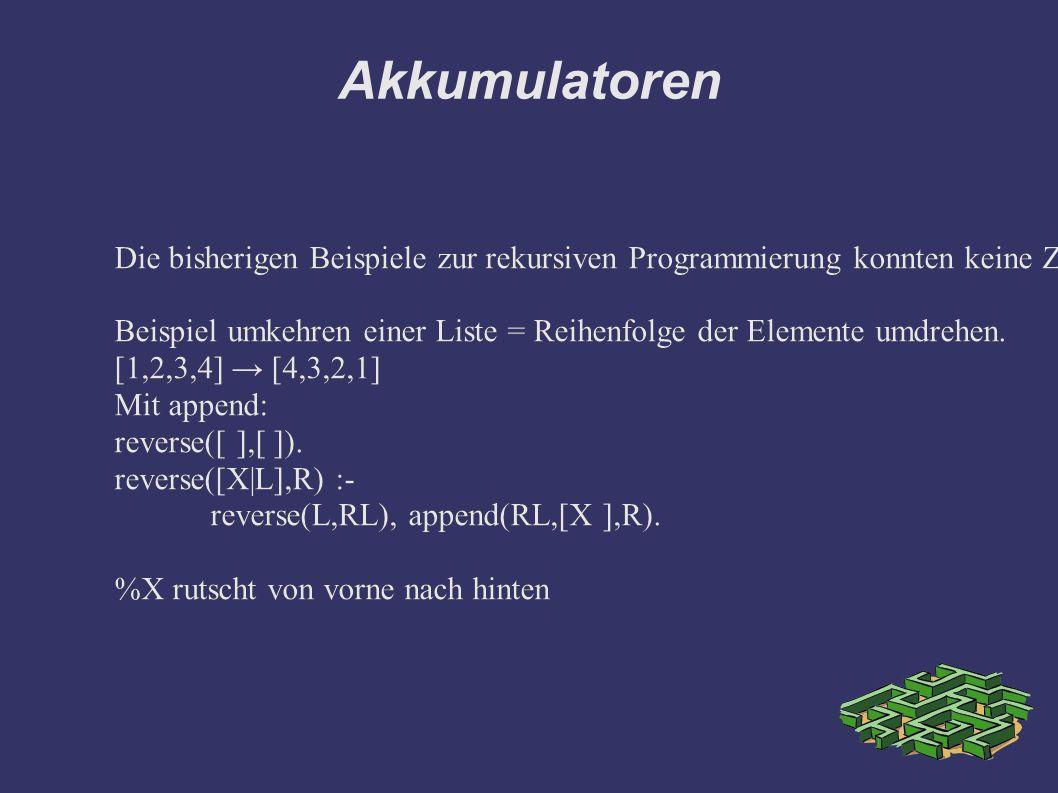 Akkumulatoren [1,2,3,4] → [4,3,2,1] Mit append: reverse([ ],[ ]).