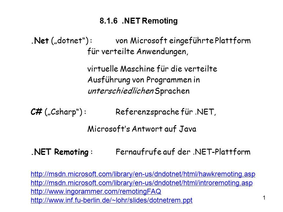 """1 vs8.1.6 8.1.6.NET Remoting.Net (""""dotnet ) :von Microsoft eingeführte Plattform für verteilte Anwendungen, virtuelle Maschine für die verteilte Ausführung von Programmen in unterschiedlichen Sprachen C# (""""Csharp ) :Referenzsprache für.NET, Microsoft's Antwort auf Java.NET Remoting :Fernaufrufe auf der.NET-Plattform http://msdn.microsoft.com/library/en-us/dndotnet/html/hawkremoting.asp http://msdn.microsoft.com/library/en-us/dndotnet/html/introremoting.asp http://www.ingorammer.com/remotingFAQ http://www.inf.fu-berlin.de/~lohr/slides/dotnetrem.ppt"""
