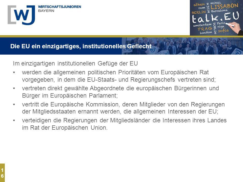 1616 Im einzigartigen institutionellen Gefüge der EU werden die allgemeinen politischen Prioritäten vom Europäischen Rat vorgegeben, in dem die EU-Staats- und Regierungschefs vertreten sind; vertreten direkt gewählte Abgeordnete die europäischen Bürgerinnen und Bürger im Europäischen Parlament; vertritt die Europäische Kommission, deren Mitglieder von den Regierungen der Mitgliedsstaaten ernannt werden, die allgemeinen Interessen der EU; verteidigen die Regierungen der Mitgliedsländer die Interessen ihres Landes im Rat der Europäischen Union.