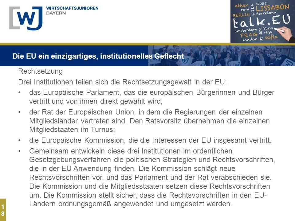 1818 Rechtsetzung Drei Institutionen teilen sich die Rechtsetzungsgewalt in der EU: das Europäische Parlament, das die europäischen Bürgerinnen und Bürger vertritt und von ihnen direkt gewählt wird; der Rat der Europäischen Union, in dem die Regierungen der einzelnen Mitgliedsländer vertreten sind.