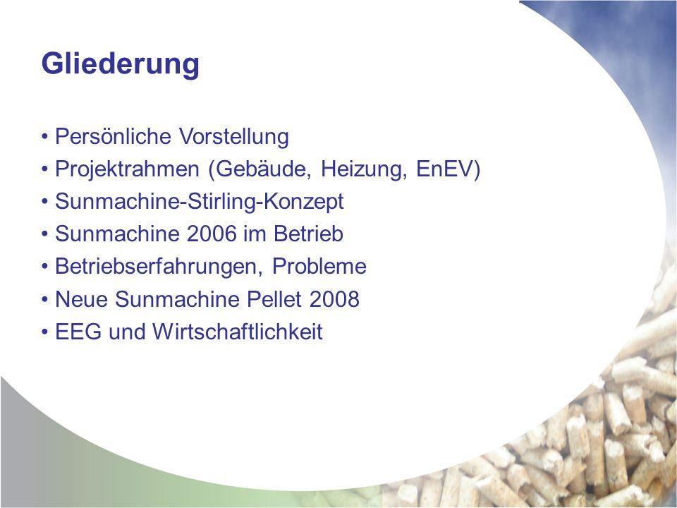 Gliederung Persönliche Vorstellung Projektrahmen (Gebäude, Heizung, EnEV) Sunmachine-Stirling-Konzept Sunmachine 2006 im Betrieb Betriebserfahrungen, Probleme Neue Sunmachine Pellet 2008 EEG und Wirtschaftlichkeit