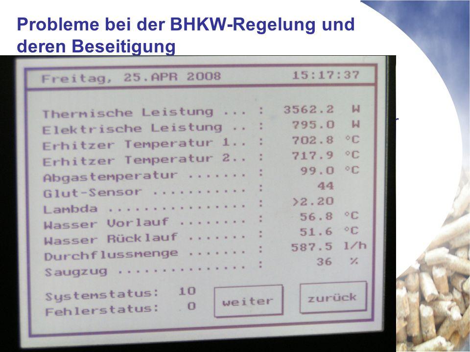 Probleme bei der BHKW-Regelung und deren Beseitigung Drehzahlregelung der Pumpen nicht realisiert (Gleichstrompumpen Fabrikat Laing) Wärmemanagement durch Aufschaltung der Speicher und Heizkreise nicht realisiert