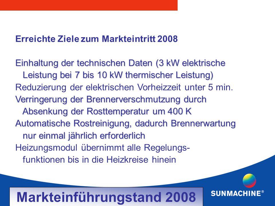 Erreichte Ziele zum Markteintritt 2008 Einhaltung der technischen Daten (3 kW elektrische Leistung bei 7 bis 10 kW thermischer Leistung) Leistung bei 7 bis 10 kW thermischer Leistung) Reduzierung der elektrischen Vorheizzeit unter 5 min.