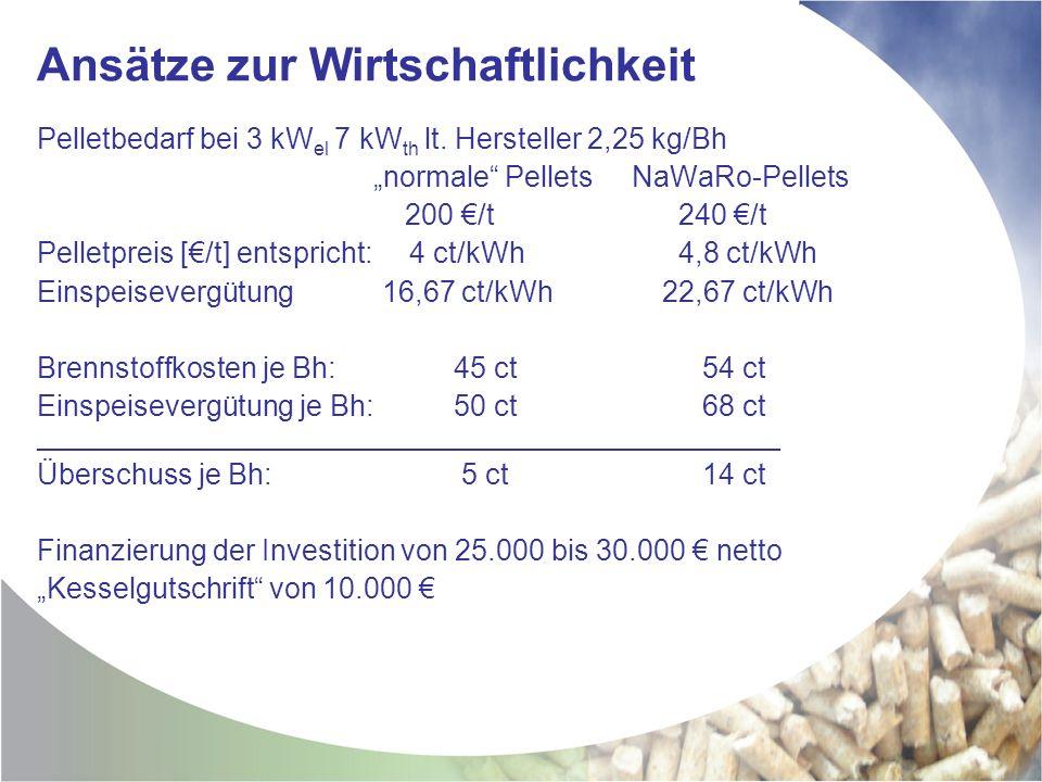 Ansätze zur Wirtschaftlichkeit Pelletbedarf bei 3 kW el 7 kW th lt.